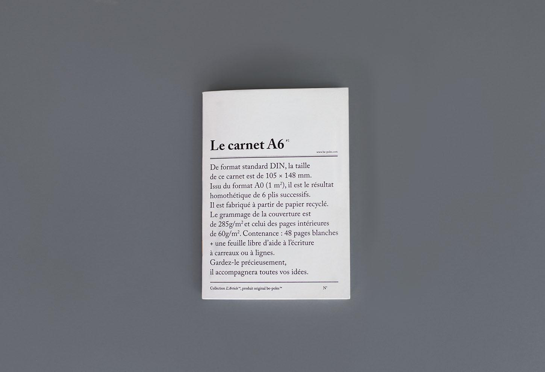 be-pôles Nelinkovaný sešit Le carnet A6, černá barva, papír