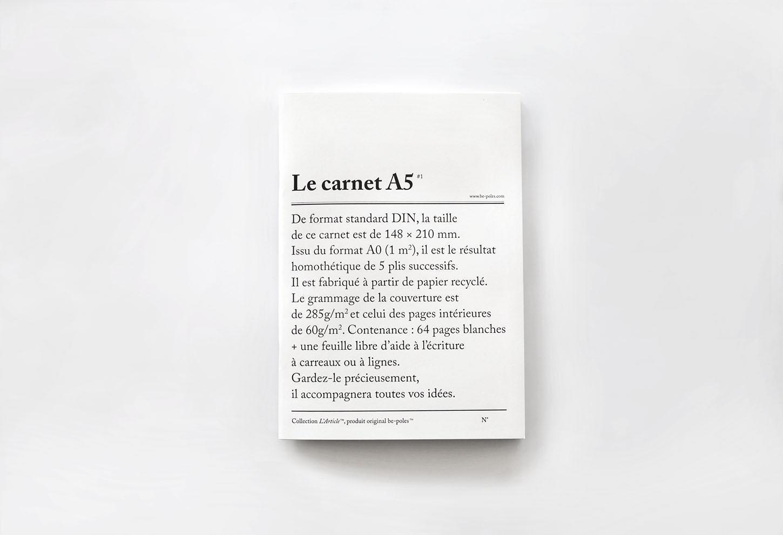 be-pôles Nelinkovaný sešit Le carnet A5, černá barva