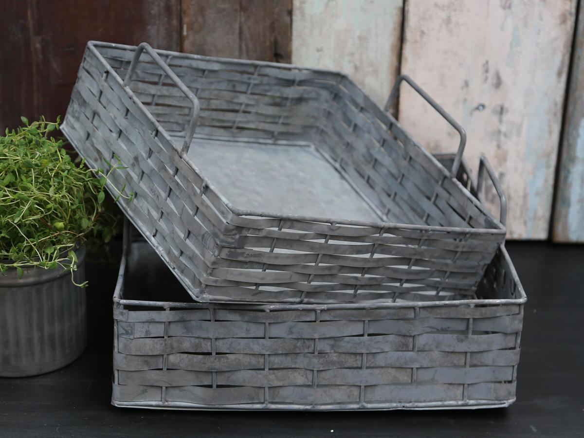 Chic Antique Zinkový podnos Braided Menší, šedá barva, zinek