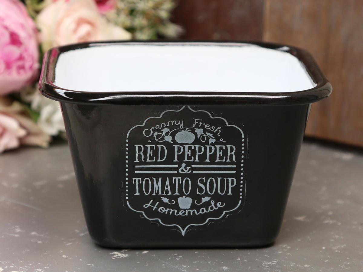 Chic Antique Smaltovaná miska Tomato soup - černá, černá barva, smalt
