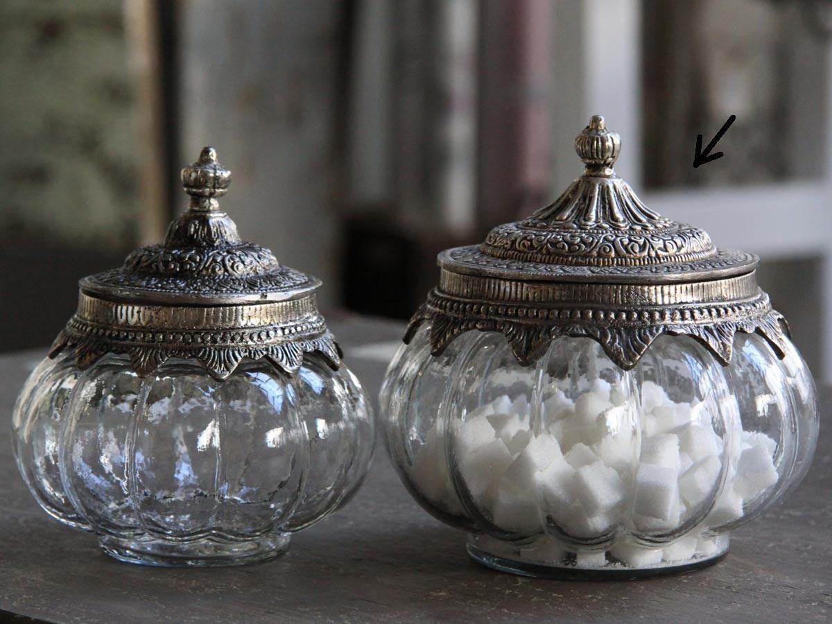 Chic Antique Skleněná dóza Silver decor - větší