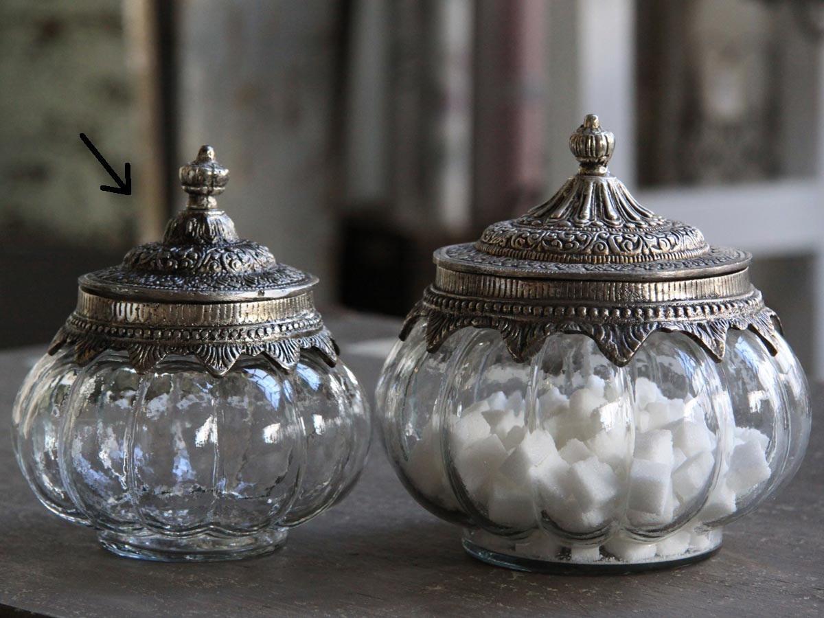 Chic Antique Skleněná dóza Silver decor - menší