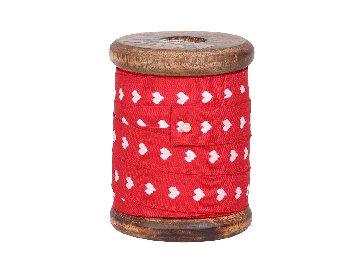 Chic Antique Červená stuha se srdíčky na špulce - 5m, červená barva, textil