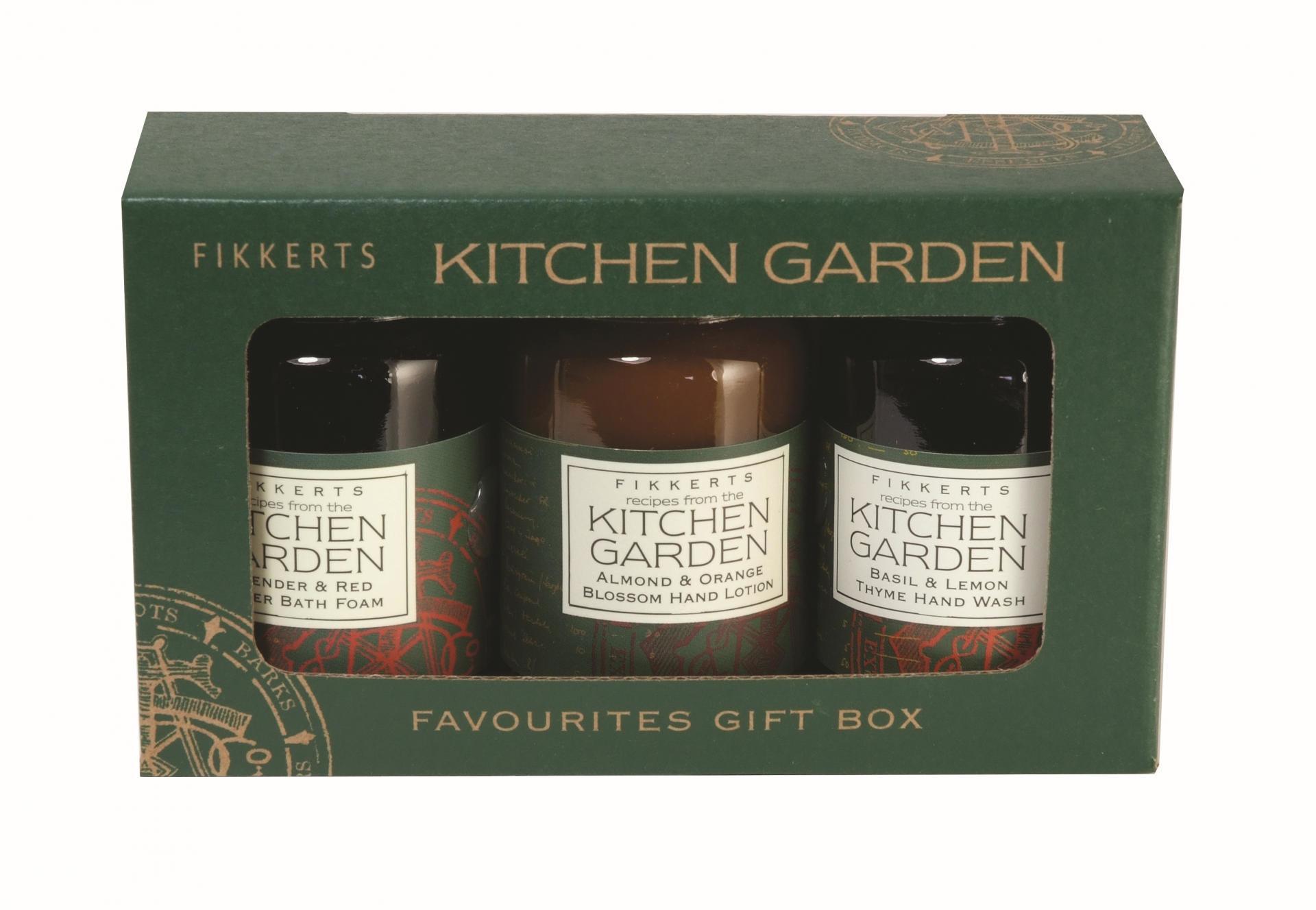 FIKKERTS Dárková sada kosmetiky Kitchen Garden, zelená barva, hnědá barva, sklo