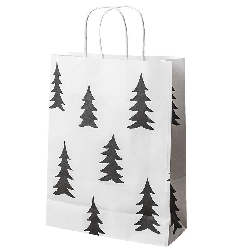 Fine Little Day Papírová taška Gran, černá barva, bílá barva, papír