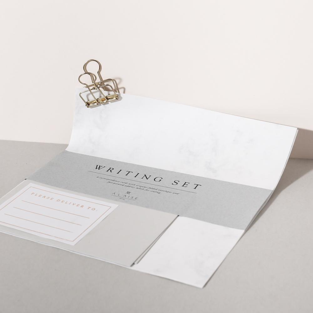 À L'AISE Dopisní set Origami Marble - 6ks, šedá barva