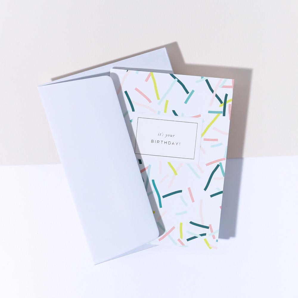 À L'AISE Papírové přání s obálkou It's your Birthday!, zelená barva, multi barva, papír