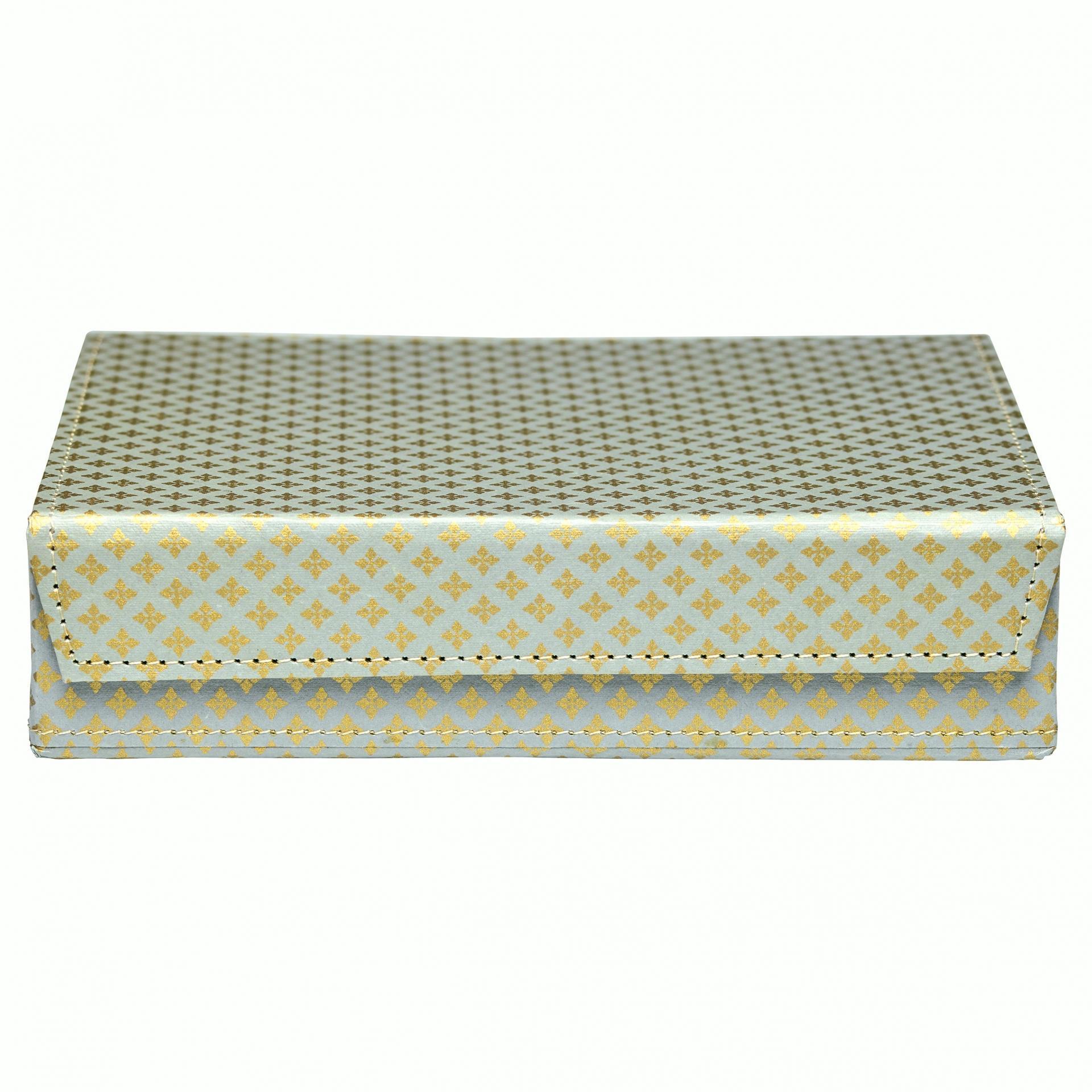 GREEN GATE Papírová krabička Sasha Dark grey, šedá barva, zlatá barva, papír