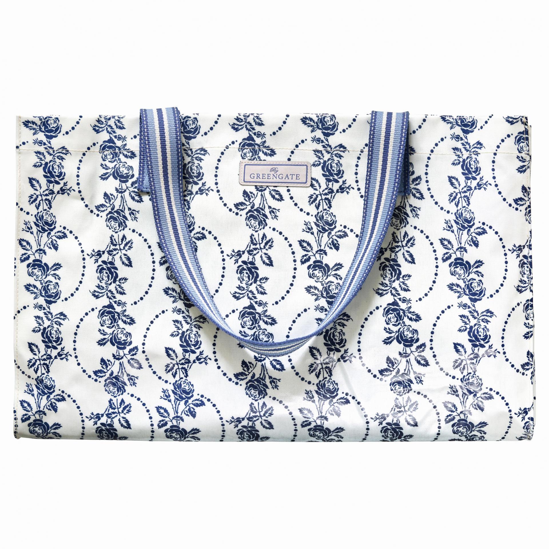 GREEN GATE Taška Fleur Blue, modrá barva, bílá barva, plast, textil