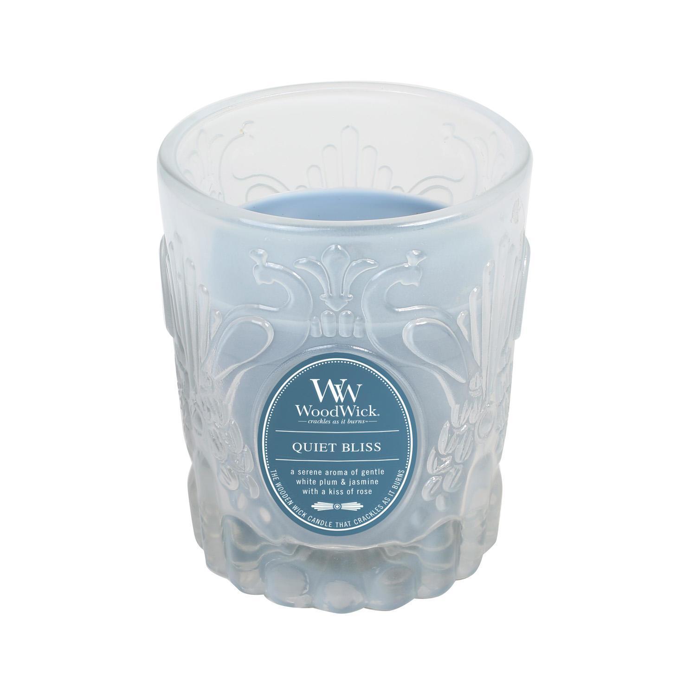 WoodWick Vonná svíčka WoodWick Blažený klid 198,4 g, modrá barva, sklo, vosk