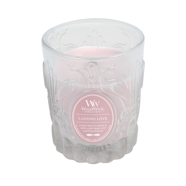 WoodWick Vonná svíčka WoodWick Věčná láska 198,4 g, růžová barva, sklo, vosk