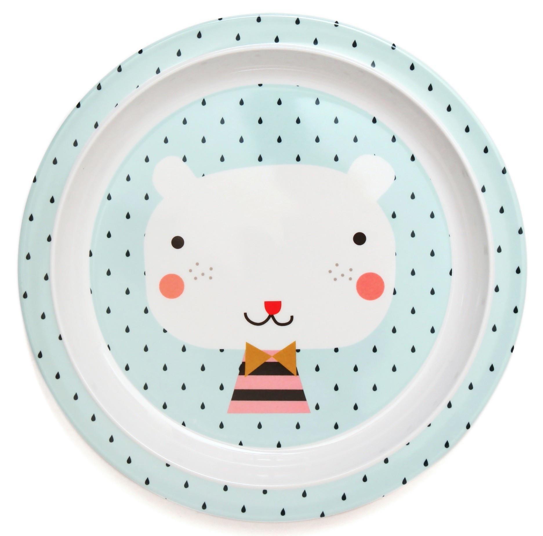 Petit Monkey Modrý melaminový talíř Bear - světle modrý