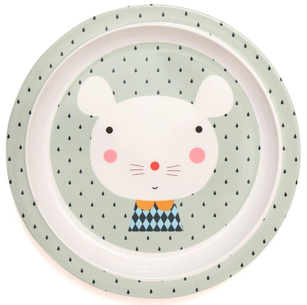 Petit Monkey Zelený melaminový talíř Mouse