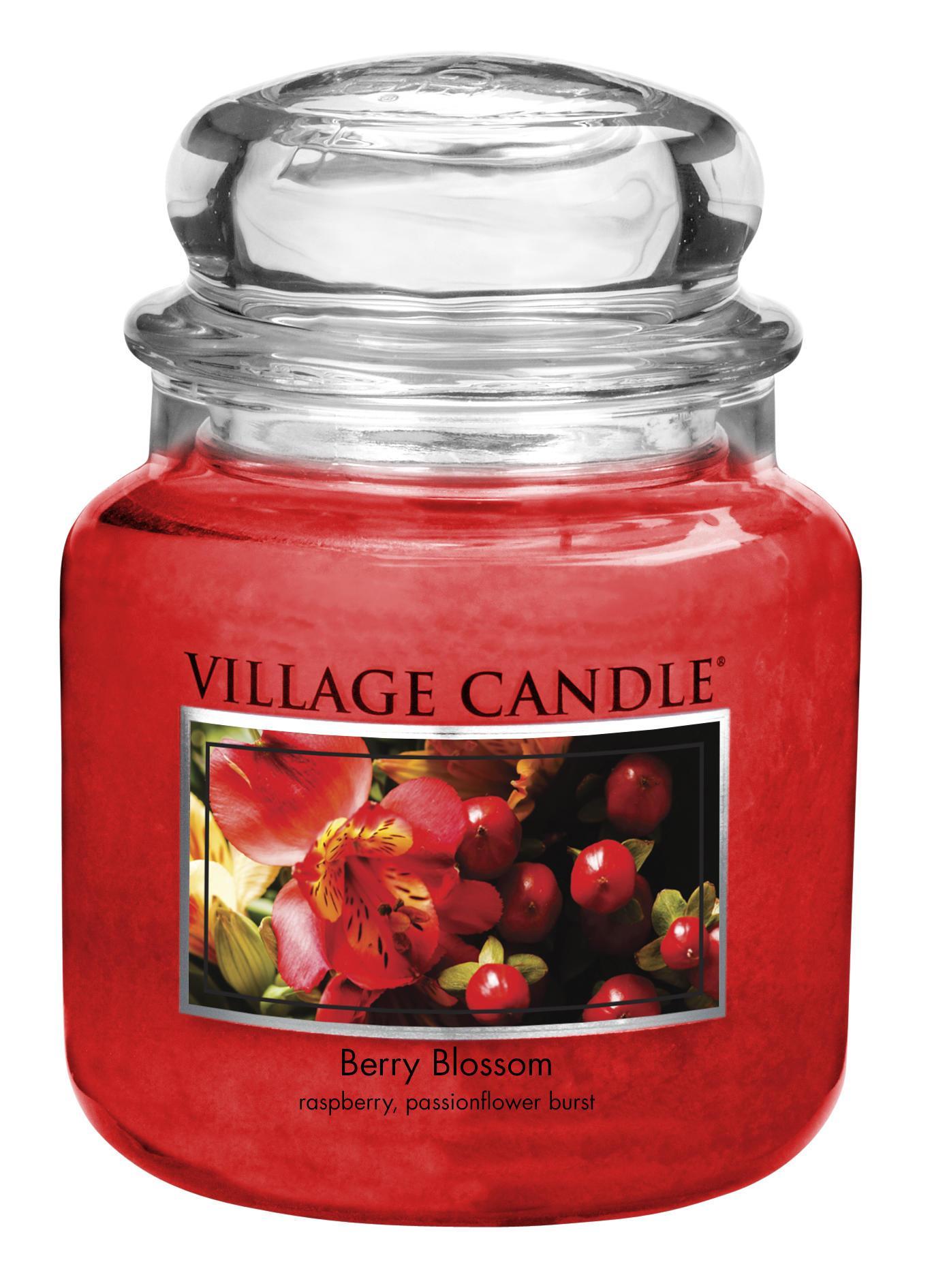 VILLAGE CANDLE Svíčka ve skle Berry Blossom - střední, červená barva, sklo, vosk