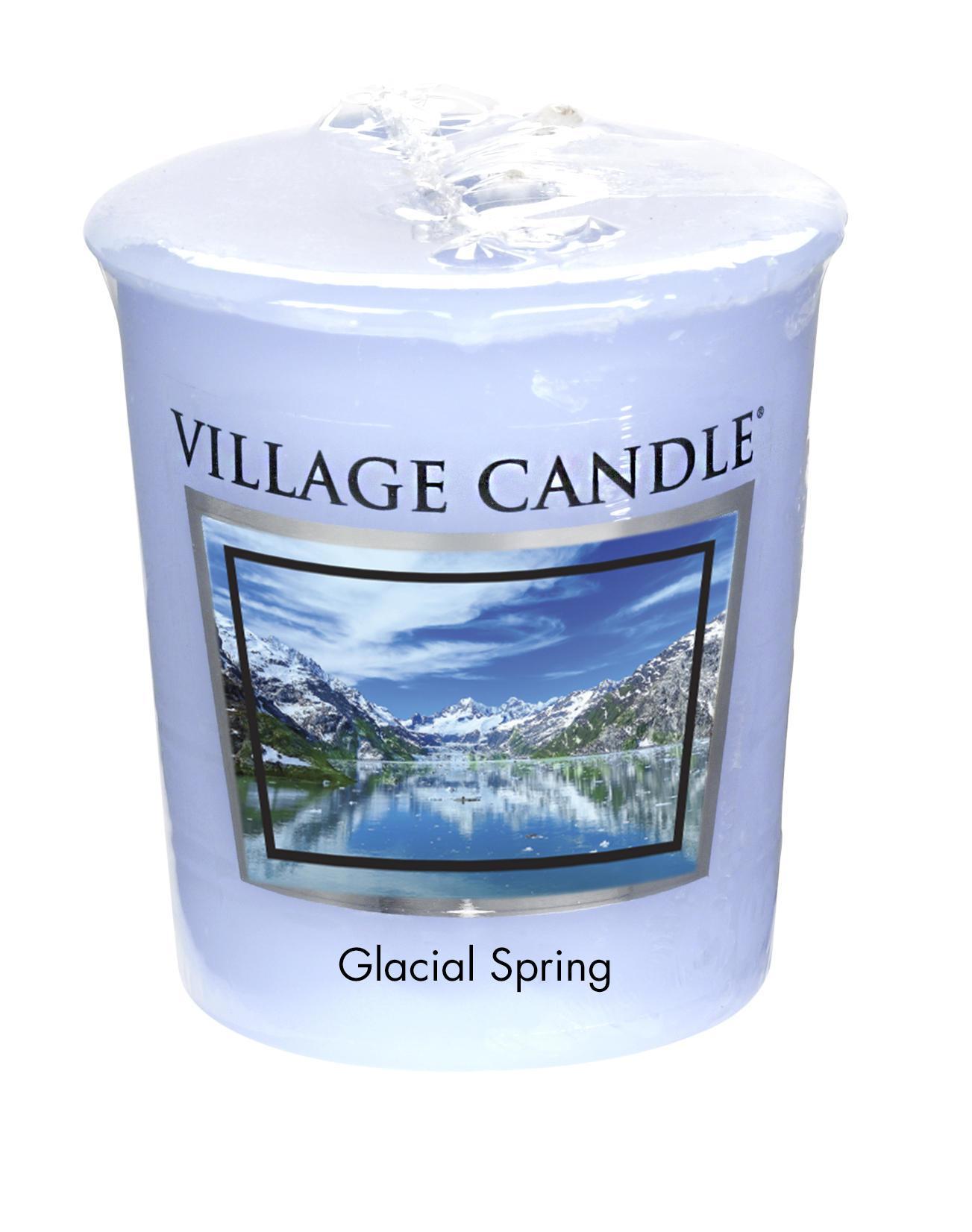 VILLAGE CANDLE Votivní svíčka Village Candle - Glacial Spring, modrá barva, vosk