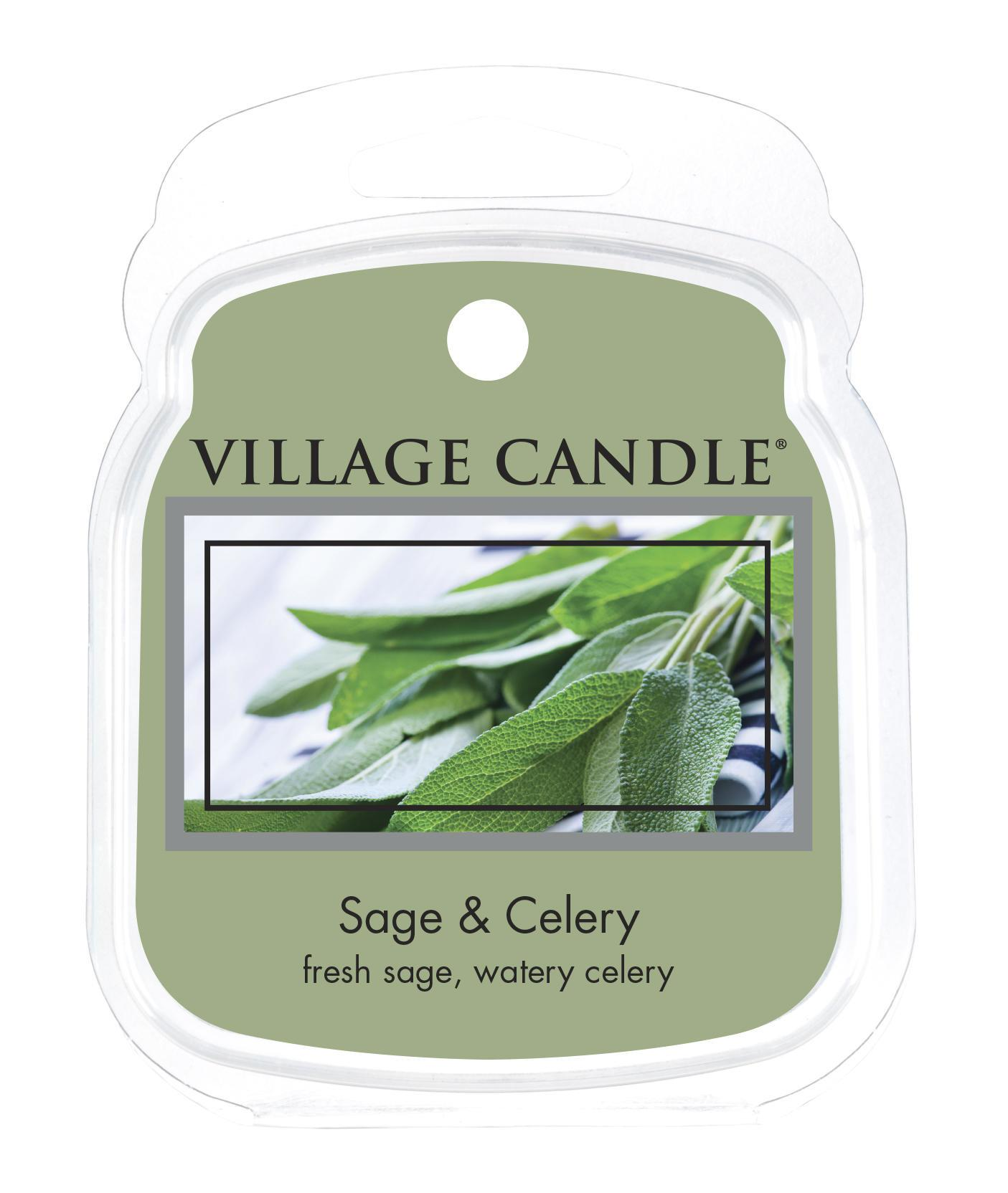 VILLAGE CANDLE Vosk do aromalampy Sage & Celery, zelená barva, vosk