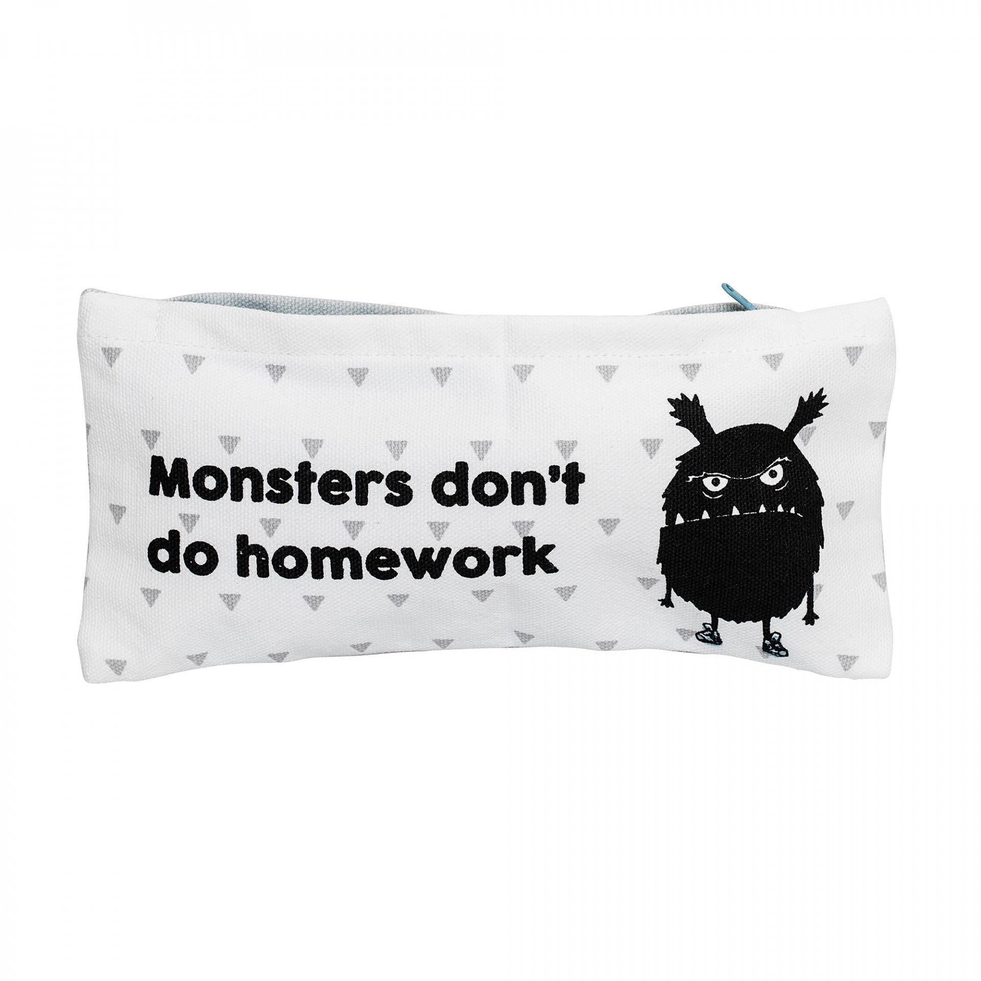 Bloomingville Textilní pouzdro na psací potřeby Monster, šedá barva, černá barva, bílá barva, textil