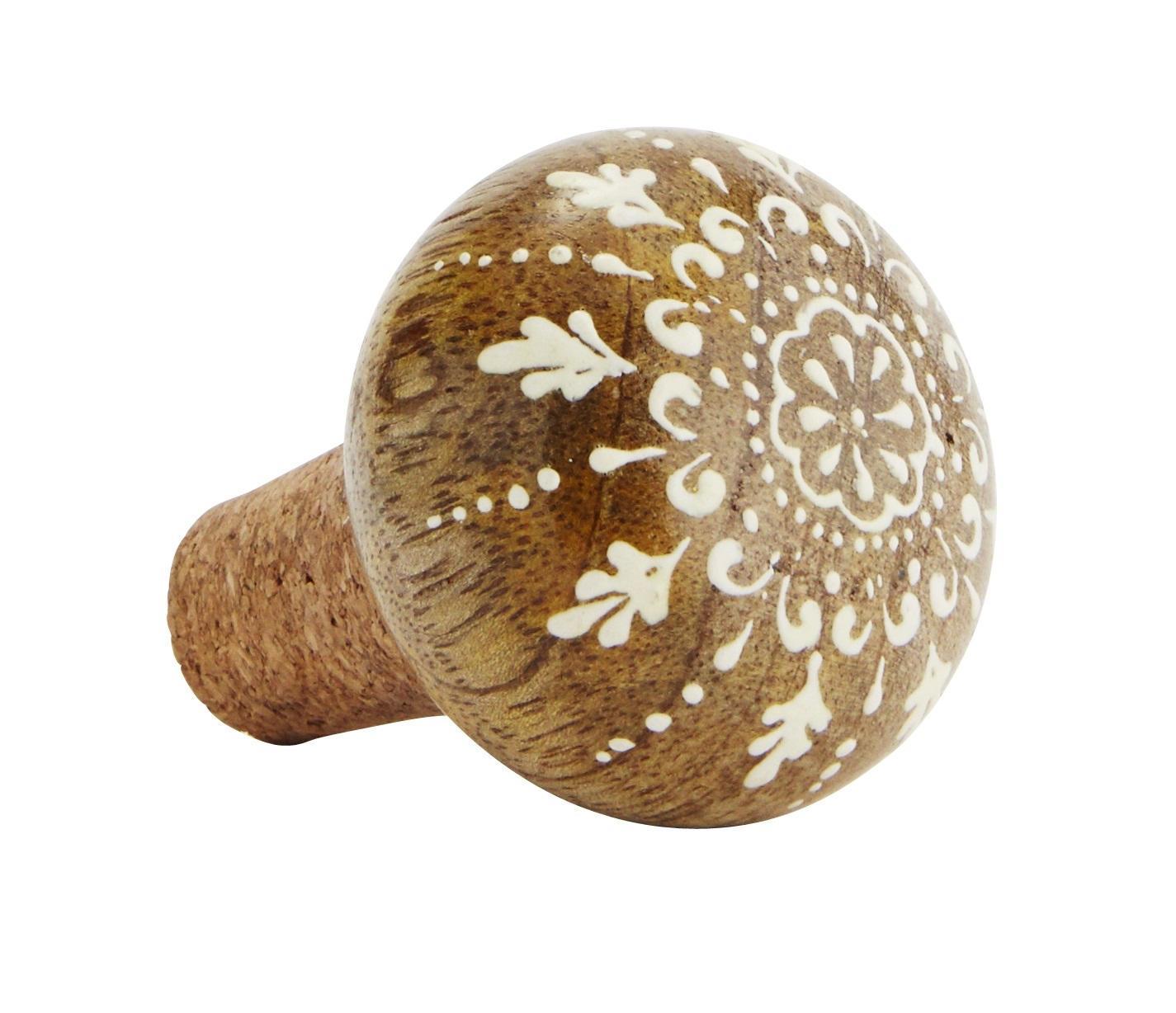 MADAM STOLTZ Dřevěná zátka na lahev Natural/white, bílá barva, hnědá barva, přírodní barva, dřevo, korek