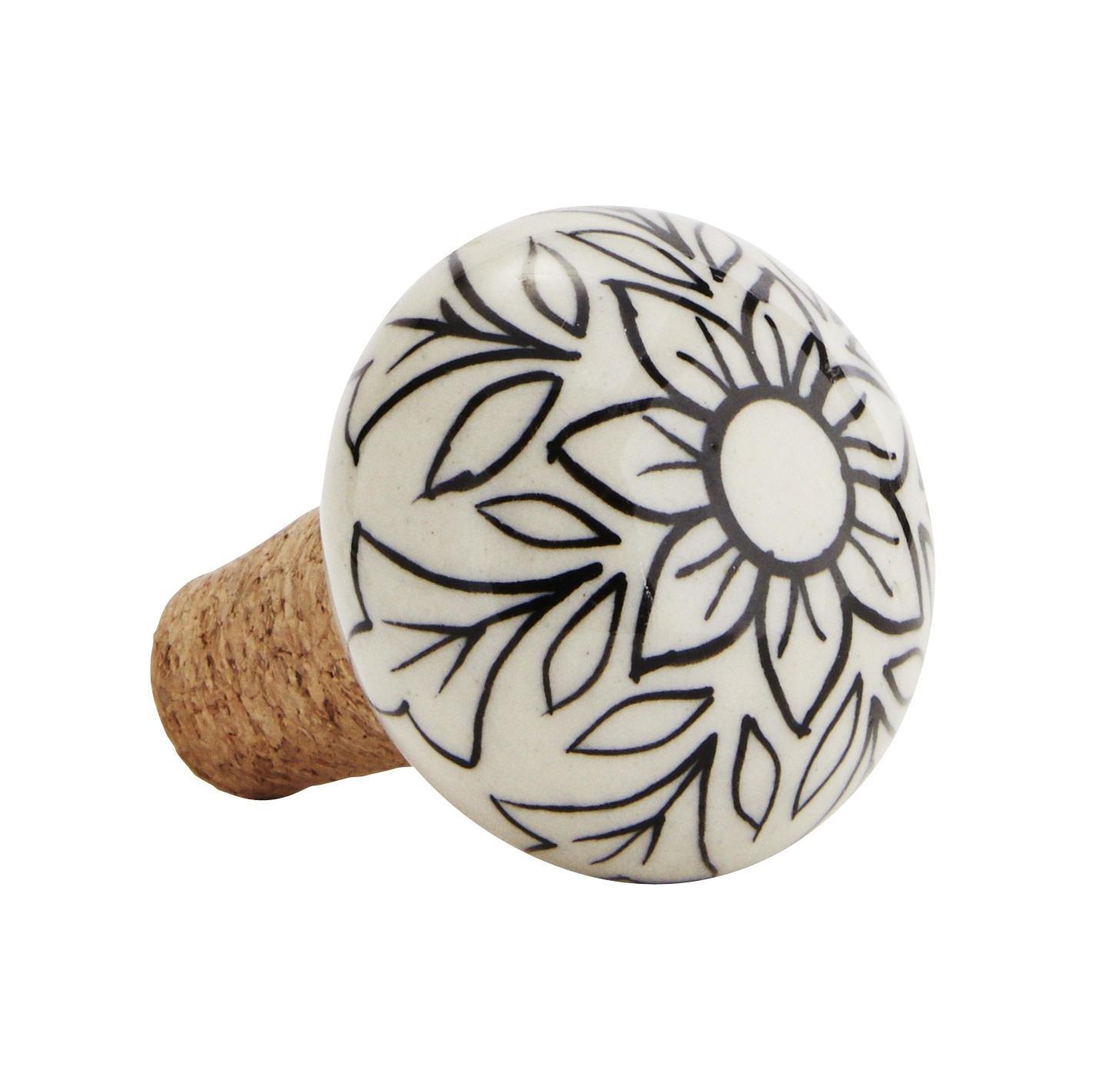 MADAM STOLTZ Keramická zátka na lahev White/black, černá barva, bílá barva, keramika, korek