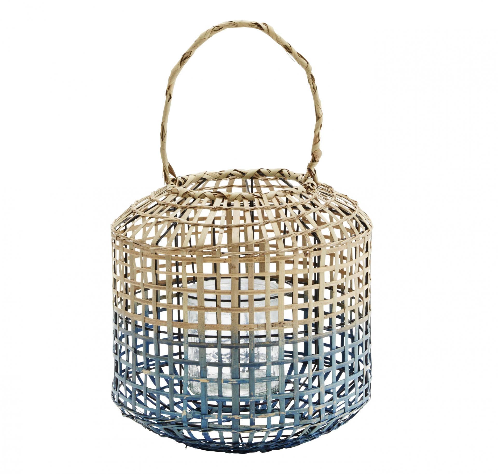 MADAM STOLTZ Velká bambusová lucerna Natural/blue, modrá barva, hnědá barva, přírodní barva, sklo, dřevo, proutí