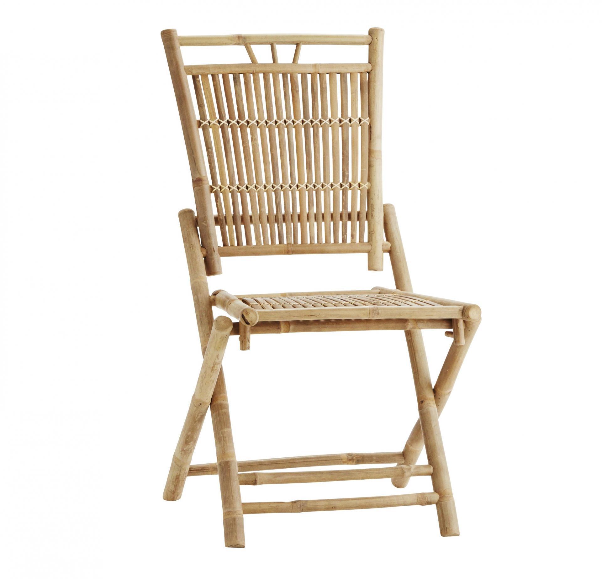 MADAM STOLTZ Skládací bambusová židle Natural, béžová barva, přírodní barva, dřevo