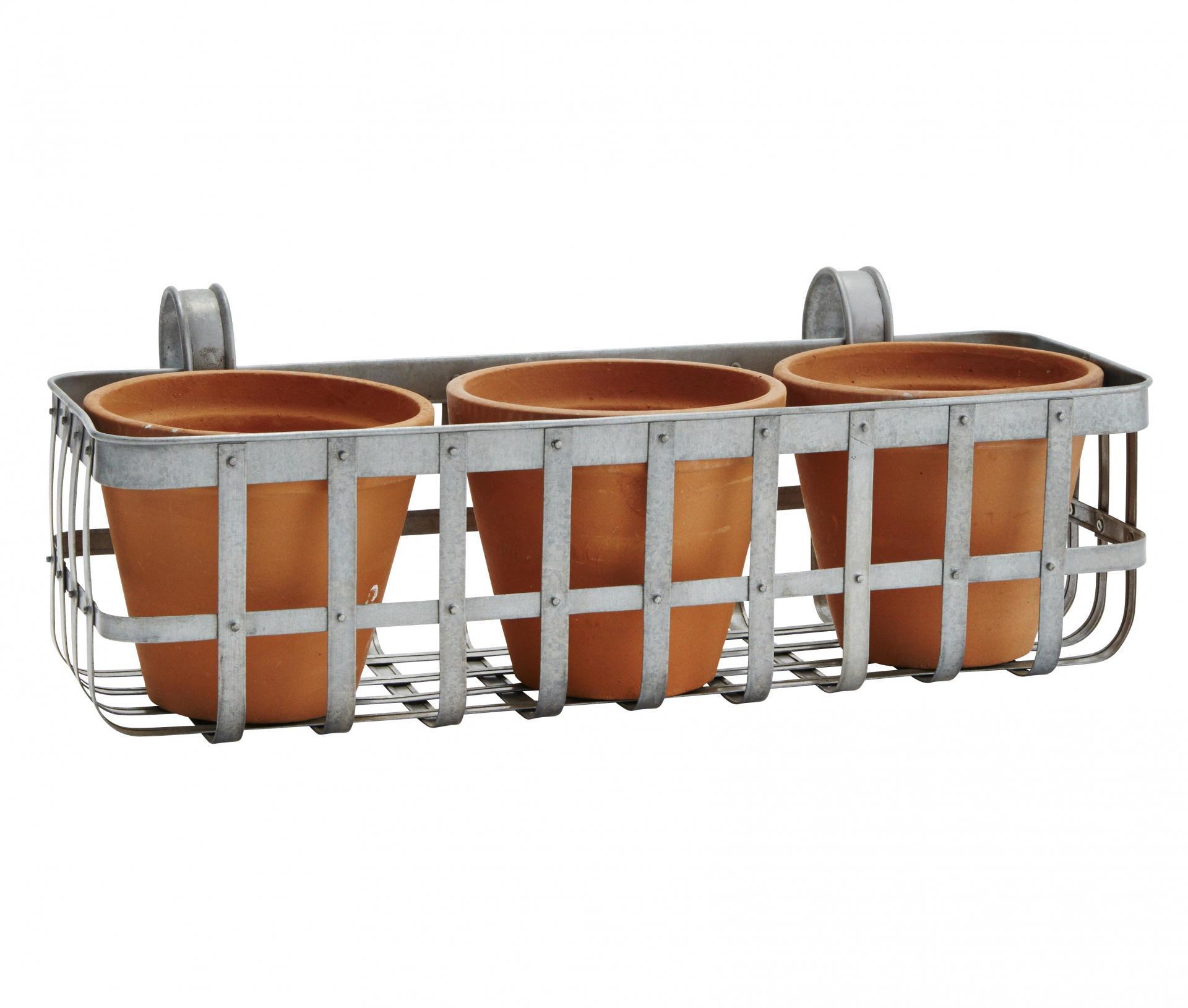 MADAM STOLTZ Zinkový košík se třemi květináči - větší, oranžová barva, šedá barva, stříbrná barva, zinek, keramika