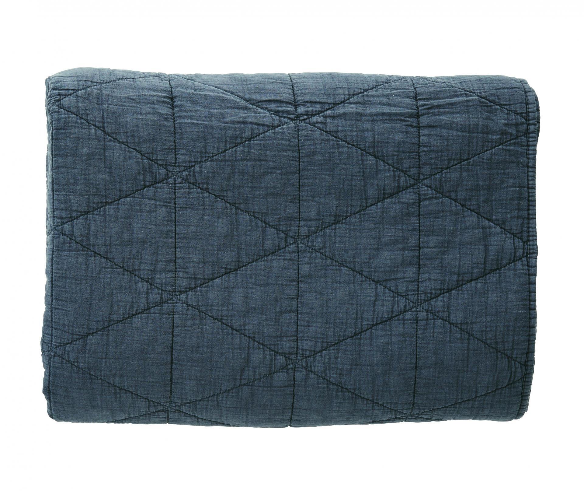 MADAM STOLTZ Prošívaná deka Navy 140x200 cm, modrá barva, textil