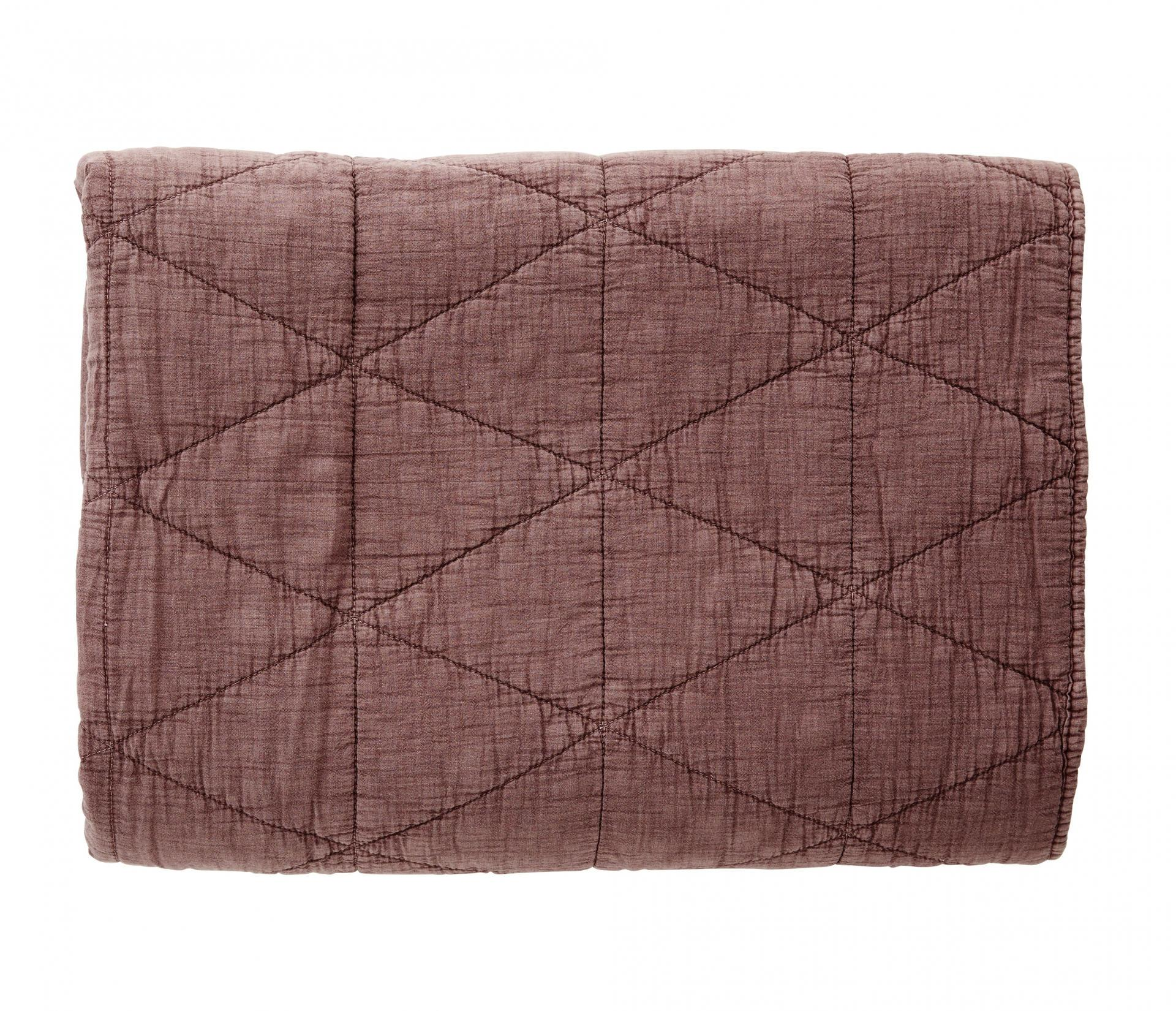 Madam Stoltz Prošívaná deka Dusty rose 140x200 cm, růžová barva, textil