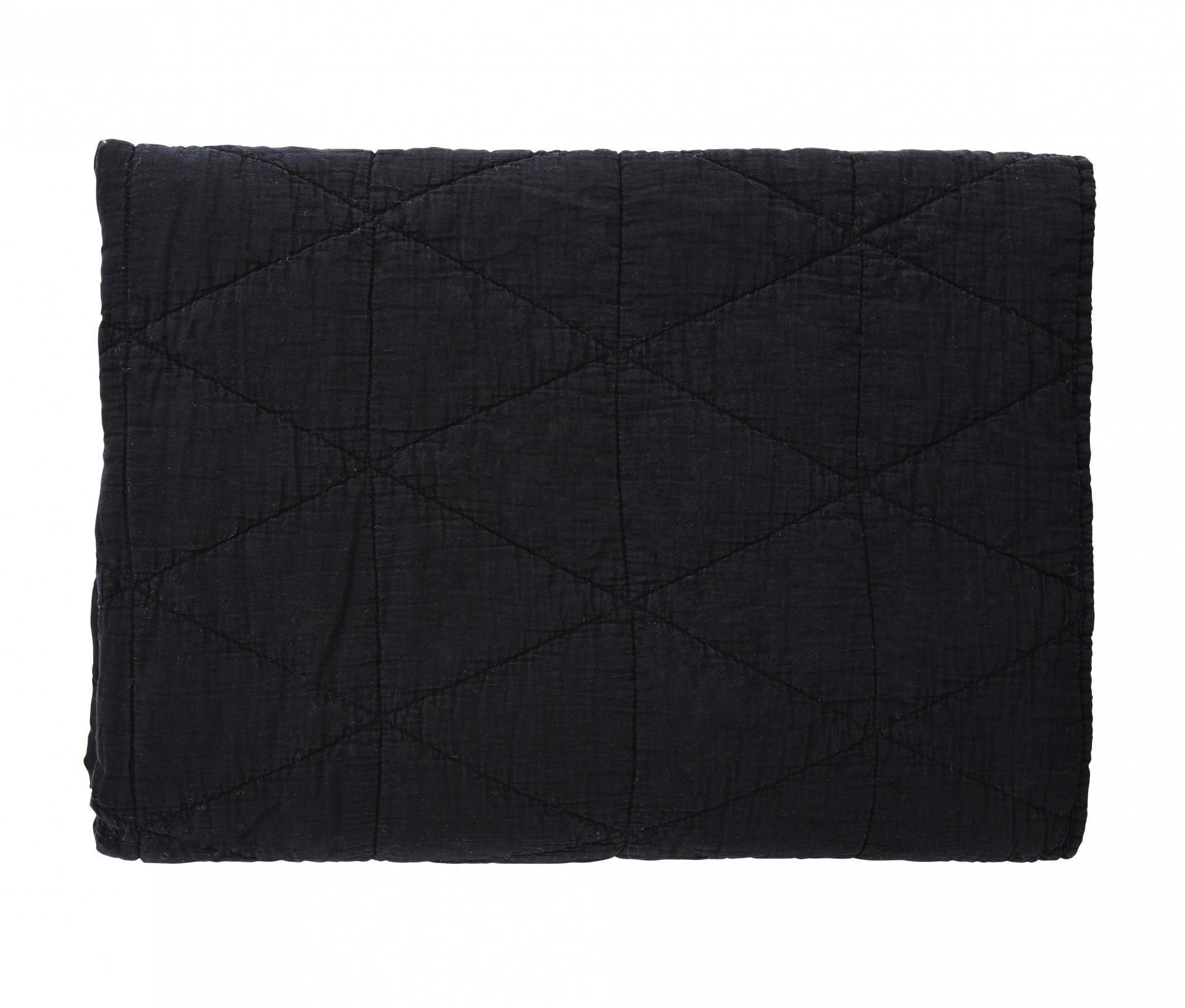 Madam Stoltz Prošívaná deka Black 140x200 cm
