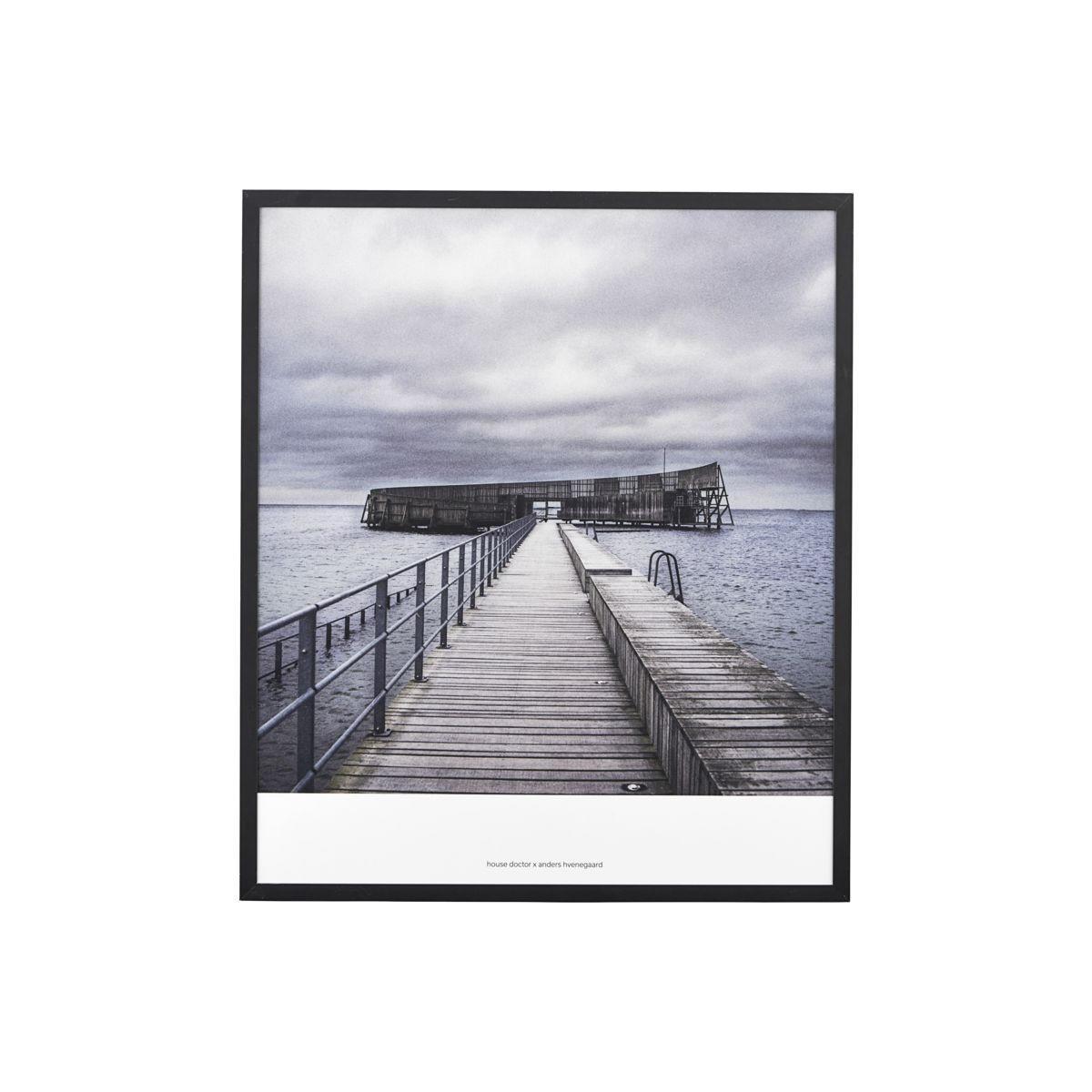 House Doctor Obraz Places 03, modrá barva, šedá barva, bílá barva, sklo
