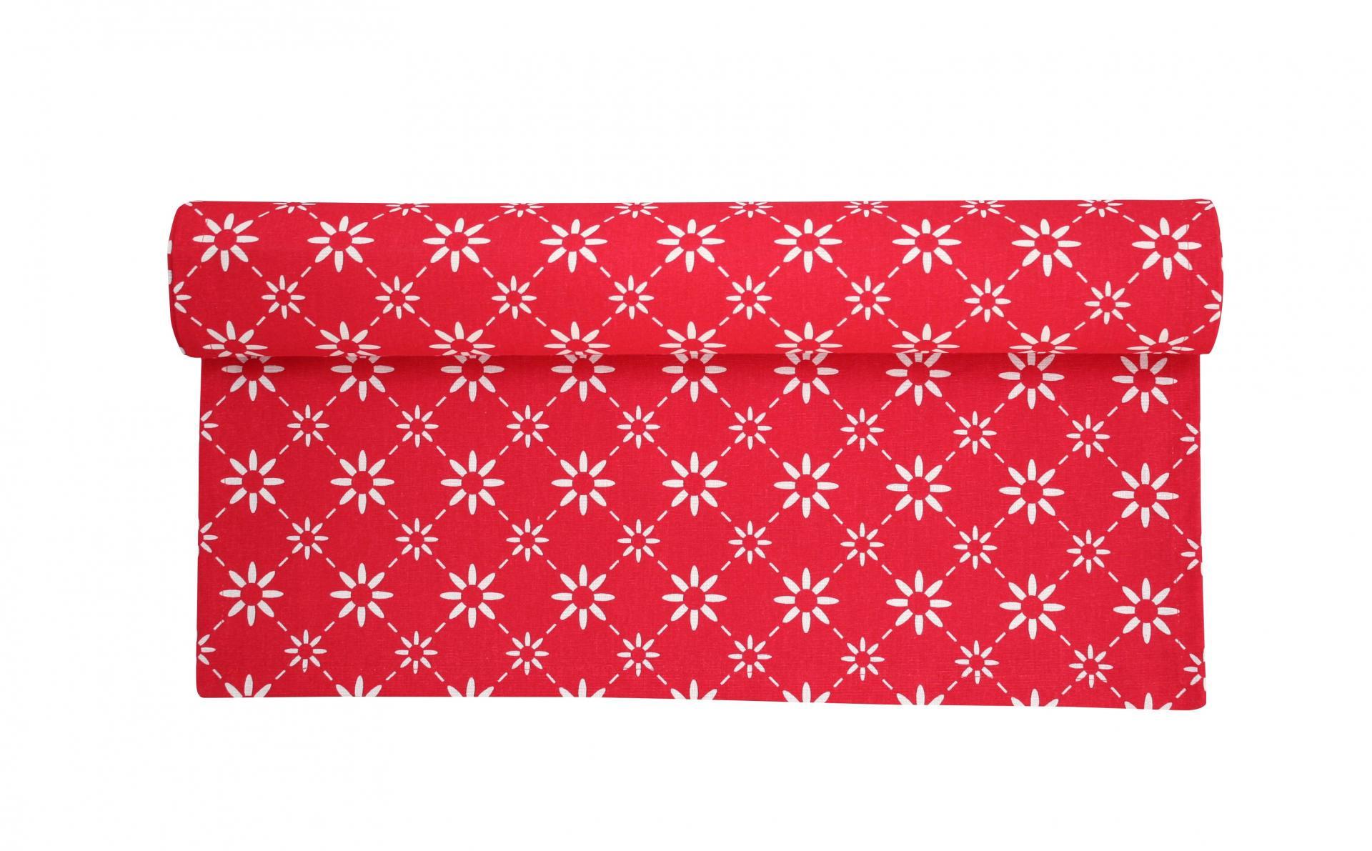 Krasilnikoff Bavlněný běhoun Red diagonal, červená barva, textil