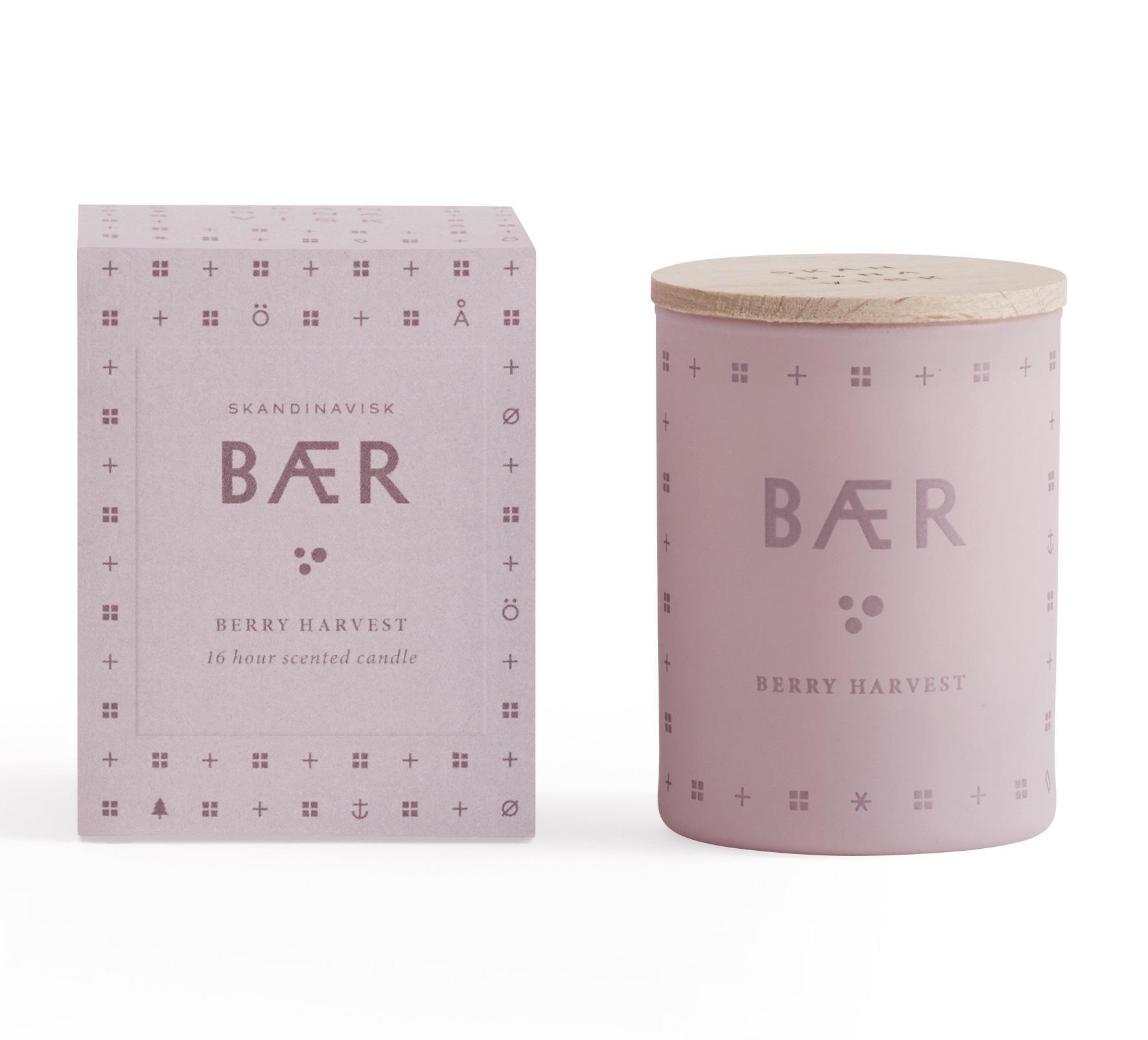 SKANDINAVISK Vonná svíčka BÆR (lesní plody) mini 55 g, růžová barva, sklo