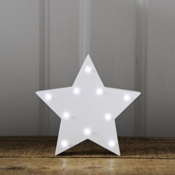Smiling Faces Svítící LED hvězda, bílá barva, dřevo