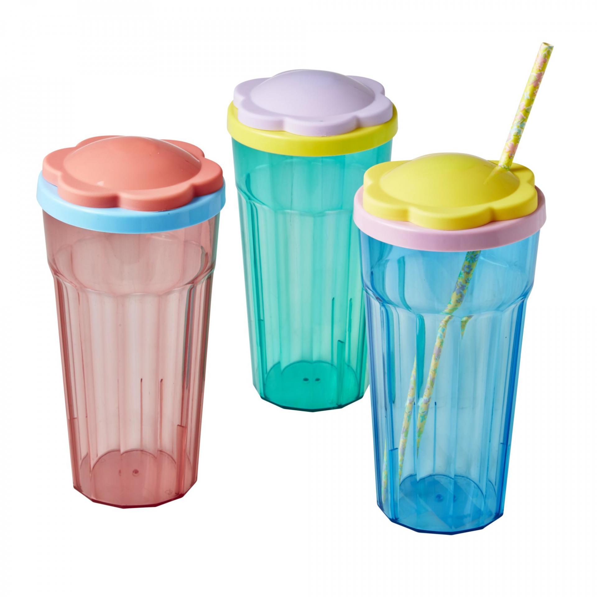 rice Plastová sklenice s víčkem Flower Růžová, růžová barva, modrá barva, zelená barva, plast