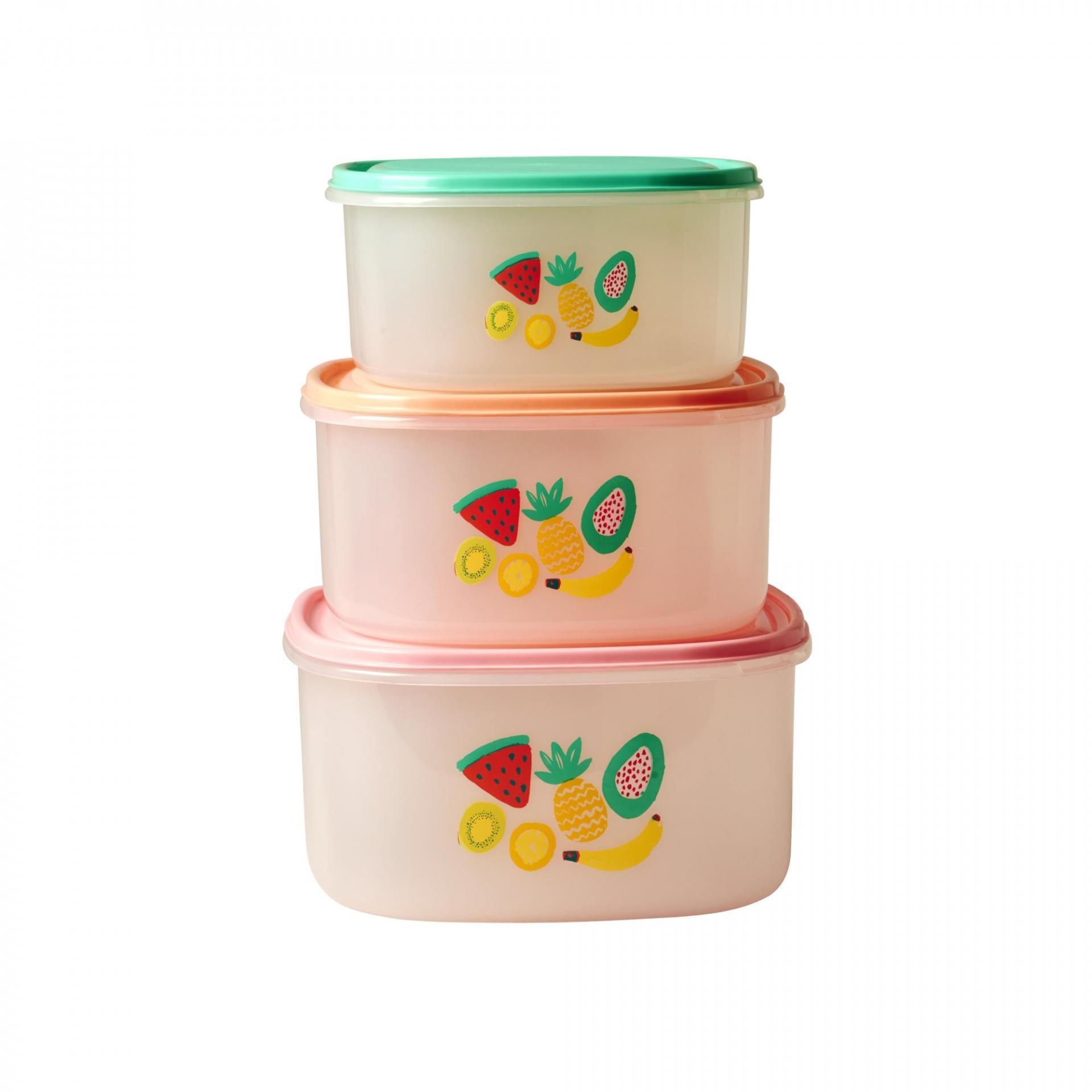 rice Potravinové boxy Tutti Frutti set - 3 velikosti, růžová barva, zelená barva, oranžová barva, plast