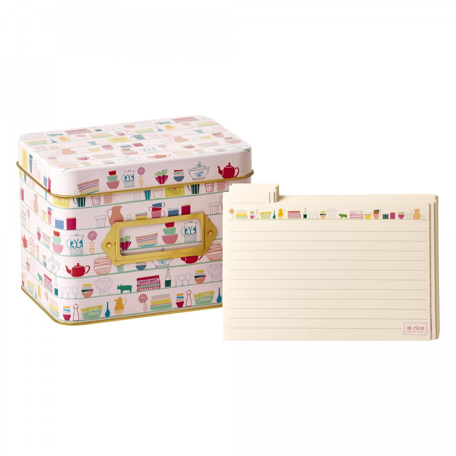 rice Plechový box s 40 lístečky na recepty, růžová barva, kov