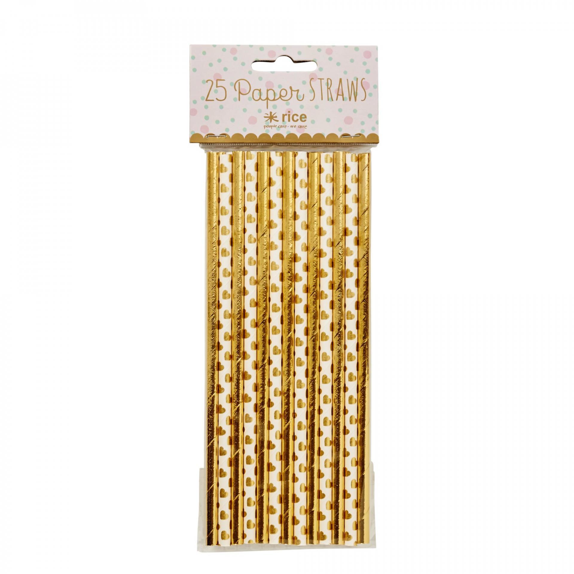 Rice Papírové slámky Gold - set 25 ks, bílá barva, zlatá barva, papír
