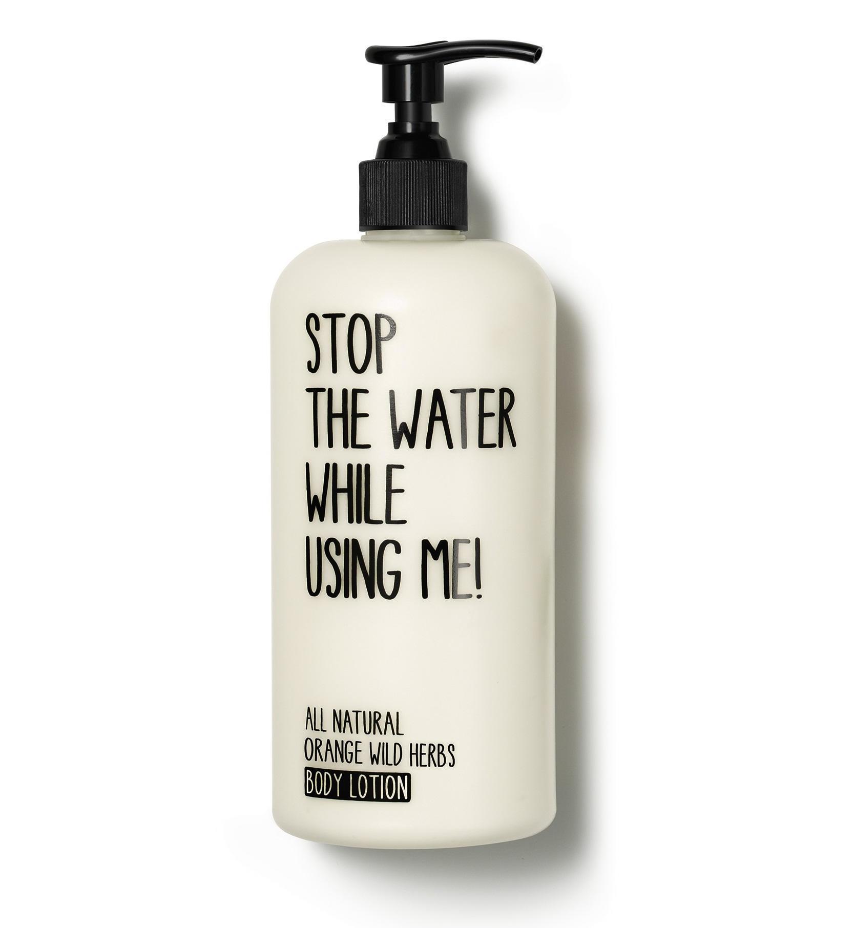 STOP THE WATER WHILE USING ME! Tělové mléko Orange Wild herbs 200 ml, černá barva, bílá barva, plast