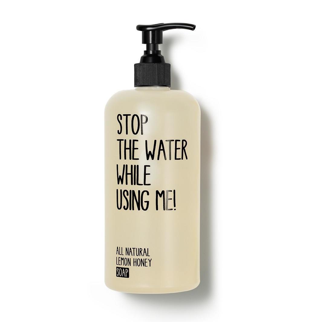 STOP THE WATER WHILE USING ME! Tekuté mýdlo na ruce Lemon Honey 200 ml, černá barva, bílá barva, plast