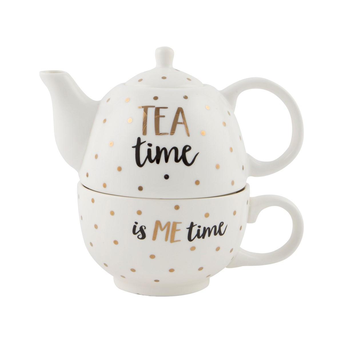 sass & belle Čajová konvička s hrnečkem Tea time, bílá barva, zlatá barva, keramika 300 ml