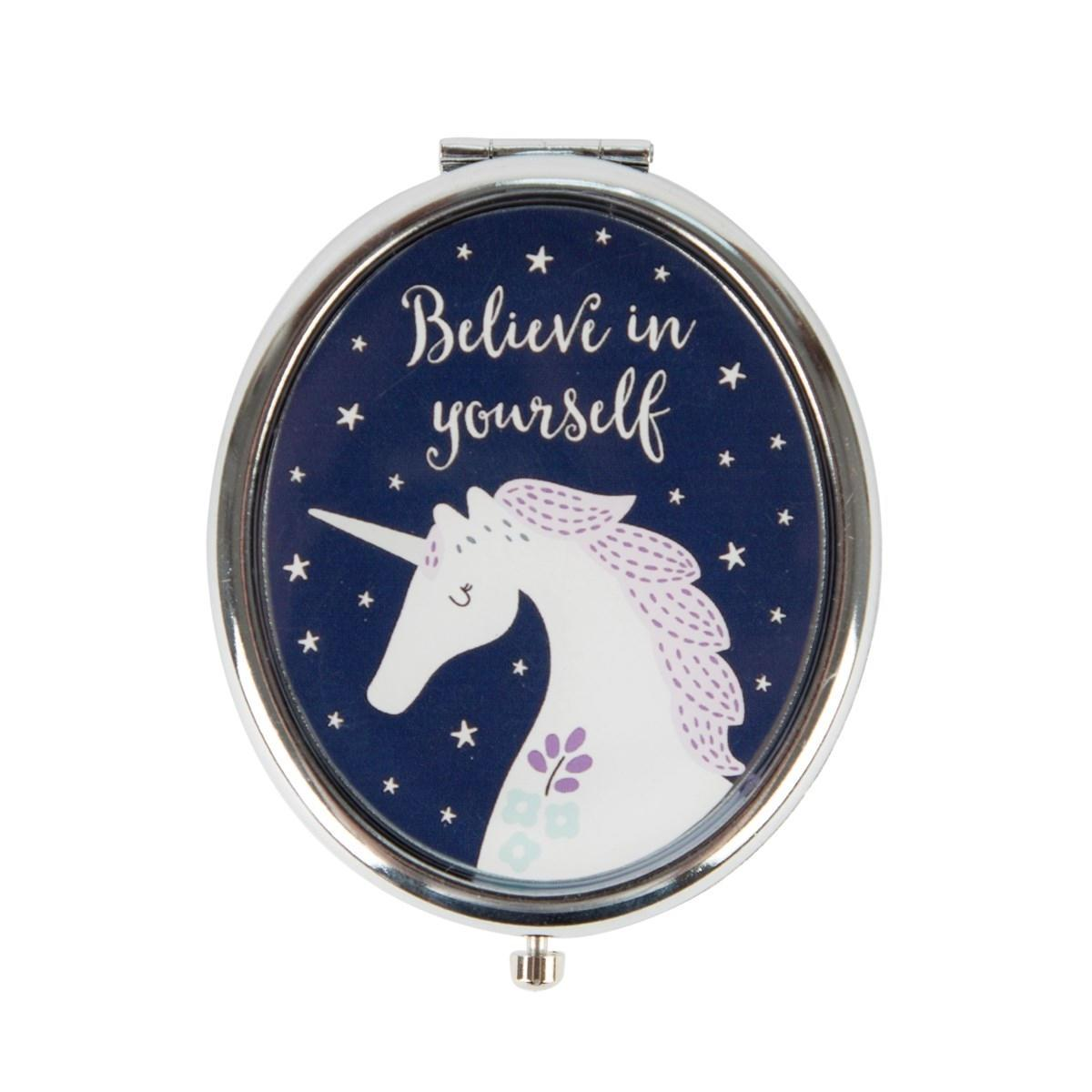 sass & belle Kapesní zrcátko Unicorn, modrá barva, stříbrná barva, sklo, kov