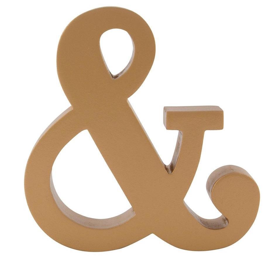 sass & belle Dřevěná dekorace Gold Ampersand, měděná barva, zlatá barva, dřevo