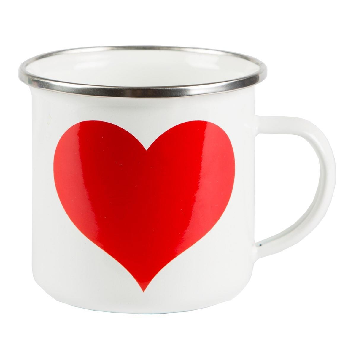 sass & belle Smaltovaný hrníček Heart, červená barva, bílá barva, smalt