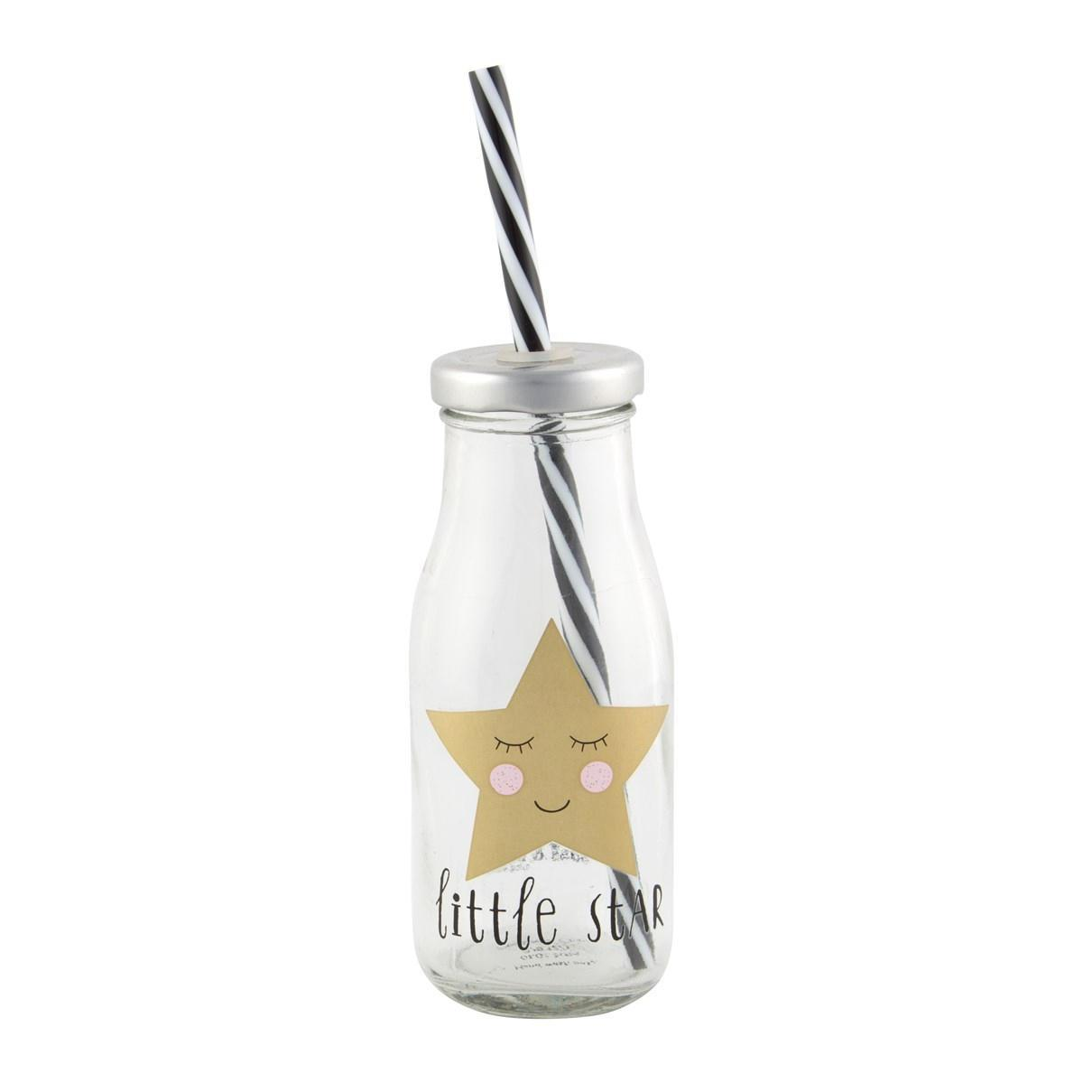 sass & belle Sklenička s víčkem a slámkou Little star, zlatá barva, čirá barva, sklo, plast