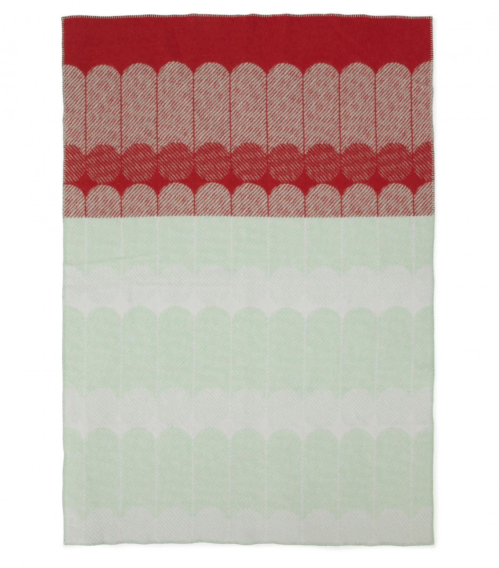 normann COPENHAGEN Vlněná deka Ekko Raspberry/mint 130x180 cm, červená barva, zelená barva, textil