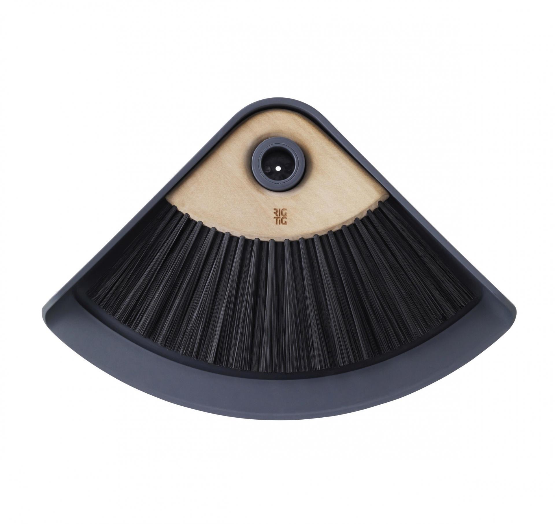 RIG-TIG Smetáček s lopatkou Sweep-it Grey, šedá barva, černá barva, přírodní barva, dřevo, plast