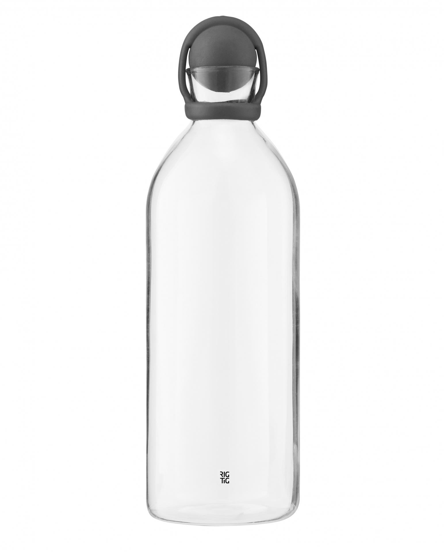RIG-TIG Skleněná karafa Cool-it Dark grey, šedá barva, čirá barva, sklo, plast