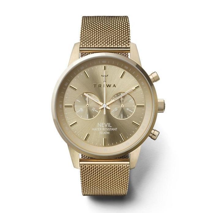 TRIWA Unisex hodinky Triwa - Gold Nevil 2.0 - Gold Mesh, zlatá barva, sklo, kov