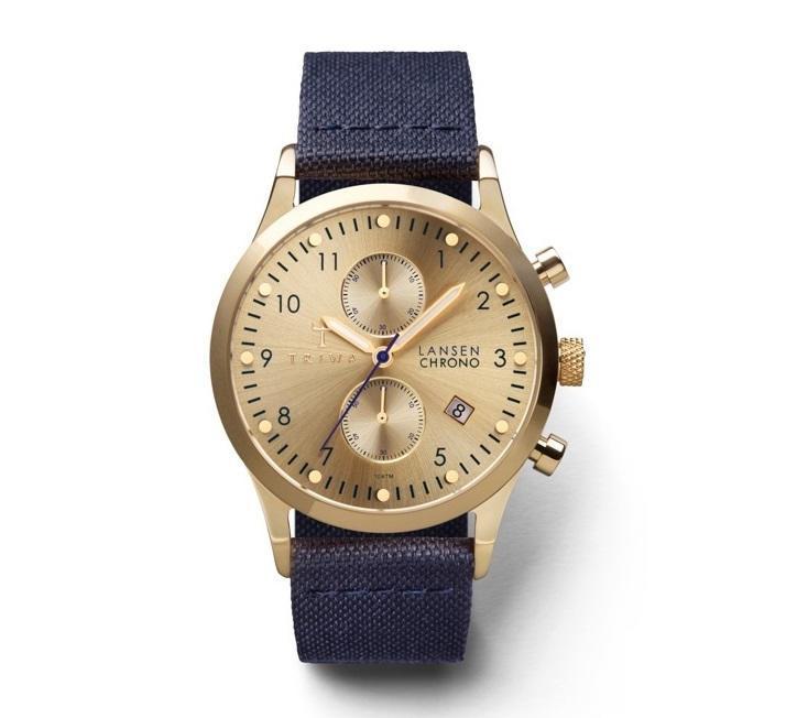TRIWA Unisex hodinky Triwa - Gold Lansen Chrono - Navy Canvas, modrá barva, zlatá barva, sklo, kov, textil