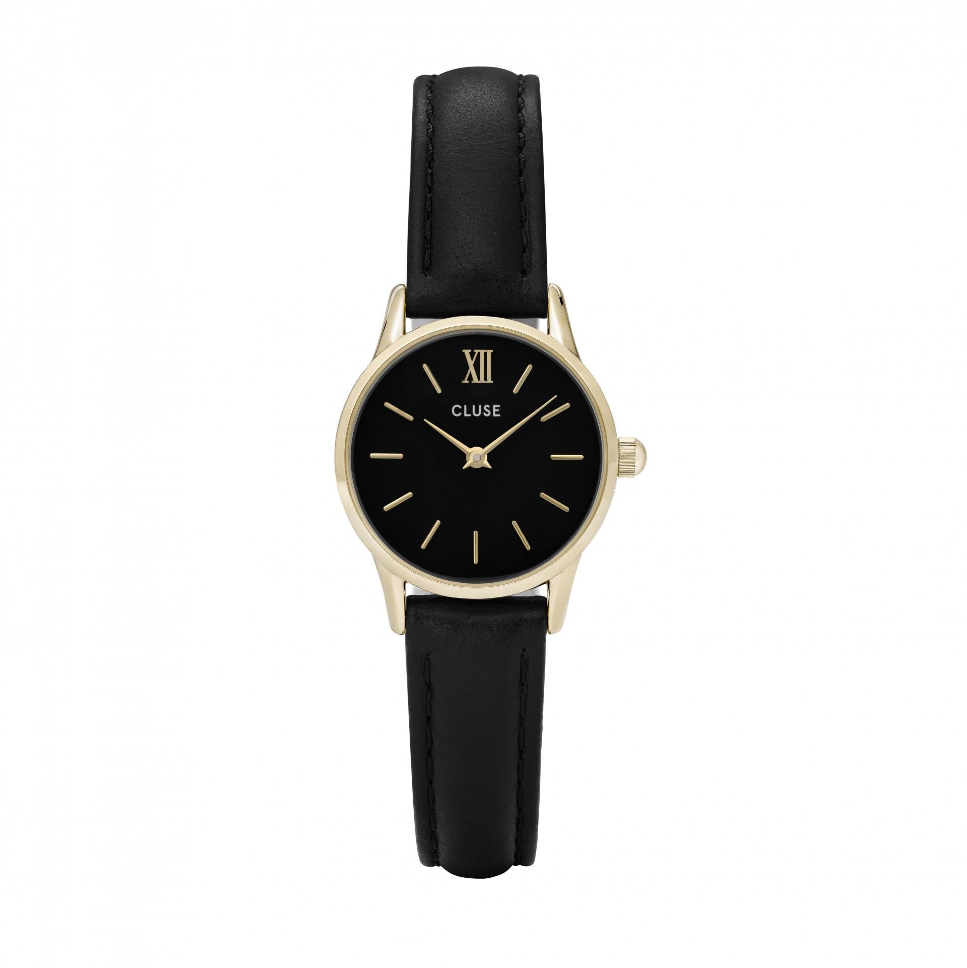 CLUSE Hodinky Cluse La Vedette Gold Black/Black, černá barva, zlatá barva, sklo, kov, kůže